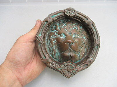 Vintage Lion Head Door Knocker Wreath Flower Architectural Antique Old
