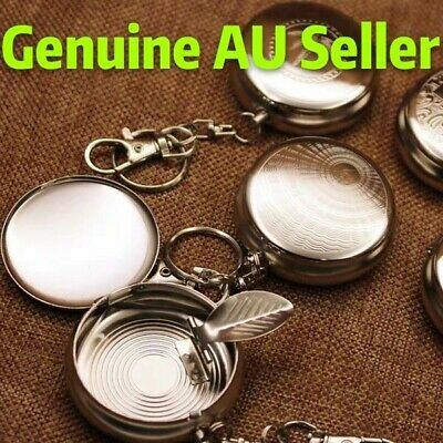 Useful Portable Pocket Stainless Steel Round Cigarette Ashtray With Keychain AU