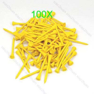 100pcs 70mm Golf Ball Wood Tee Outdoor sports wooden Tees Brand New Yellow