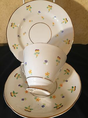 Antique  Vintage Trio Cup Saucer Plate  Csp Afternoon Pansy  Royal Standard