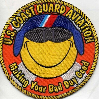 """USCG Coast Guard Patch - AVIATION  """"Making Bad Day Good"""" (4.5"""" round) (fire)"""