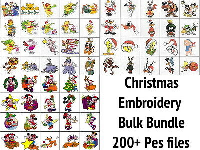 Christmas Bulk Bundle Mickey, Looney 200+ Brother Machine Embroidery Designs PES