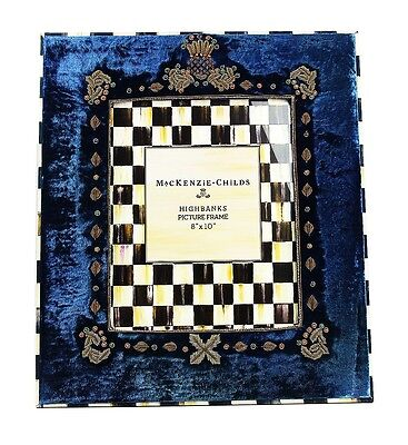 "MacKenzie Childs AMAZING HIGHBANKS VELOUR FRENCH BLUE 8""x10"" FRAME BRAND NEW"
