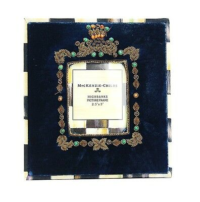 "MacKenzie Childs AMAZING HIGHBANKS VELOUR FRENCH BLUE 2.5""x 3"" FRAME BRAND NEW"
