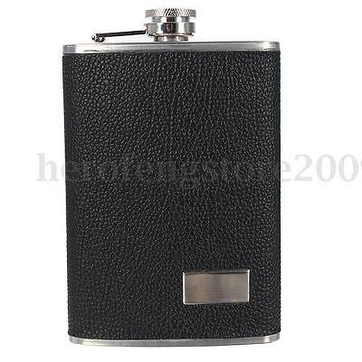 9oz Stainless Steel Leather Cover Pocket Hip Flask Funnel Cups Drink Bottle Gift