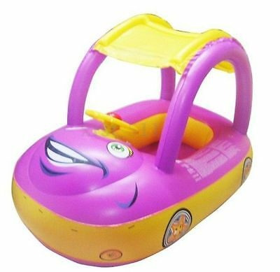 Inflatable Baby Kids Float Seat Boat Car Sunshade Swim Pool Swimming Ring Purple