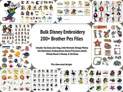 Disney Bulk Bundle Brother Machine Embroidery Designs PES Over 200+ characters