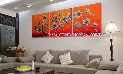 H693 3pcs Hand painted Oil Canvas Wall Art home Decor abstract flowers NO Frame