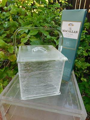 "Mid Century Hollywood Regency Sculpted ""Ice"" Jere Era Thick Lucite  Ice Bucket"