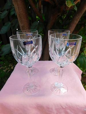 Set Of 4 New Waterford Crystal Marquis Brookside Water/wine Stem Goblets