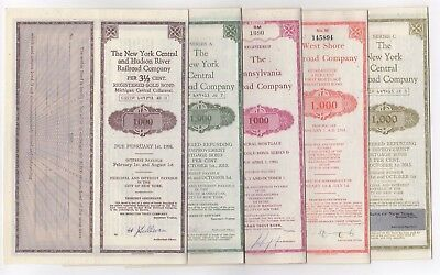 Lot of 5 different Railroad Company Bonds mixed colors