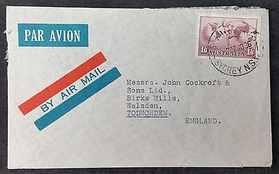 1936 Australia Commercial Airmail Cover 1/6 to Birks Mills, Todmorden, GB