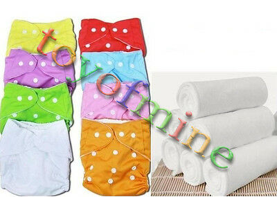 1x Adjustable Reusable Washable Cloth Diaper Nappy Covers Cotton insert for Baby