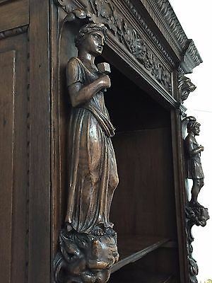 Antique Deeply Carved French Renaissance Display Cabinet, Bookcase  C 1870