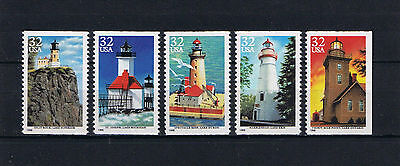 US Sc 2969-73 Lighthouses Booklet Pane Singles Postage Stamp Issue