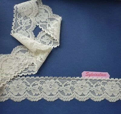 2 metres of Cream or White Stretch Lace 6cm wide