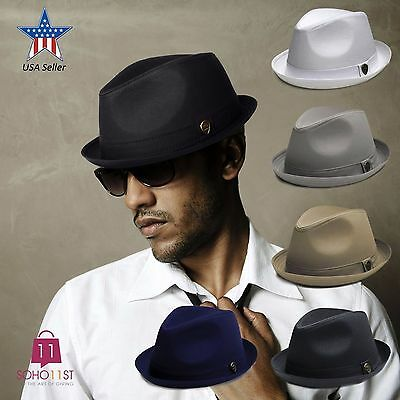 Fedora Hat Cotton Roll-Up Band Trilby Cuban Caps Black White Grey Khaki – PMT111