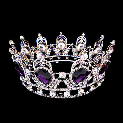 6cm High Purple Luxury Crystal Silver King Crown Wedding Prom Party Pageant