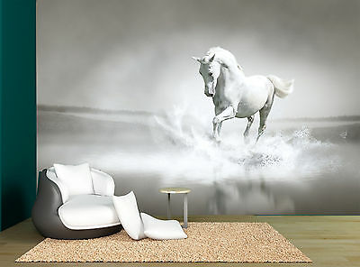 One White Horse Grey Wall Mural Photo Wallpaper GIANT WALL DECOR