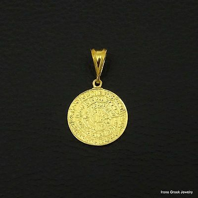 Minoan Phaistos Disc 925 Sterling Silver 22K Gold Plated Greek Art Pendant
