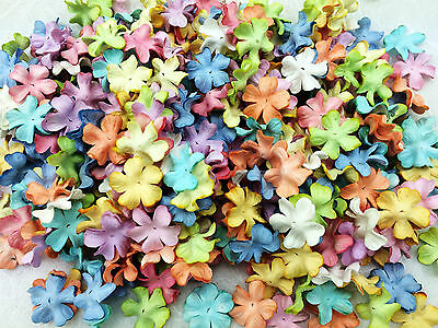 100 Mixed Pastel Flowers mulberry paper for Craft & D.I.Y