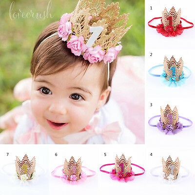 Baby Toddler Kids Girls Cute Crown Lace Flower Headband Hair Band Accessories