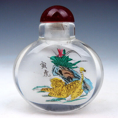 Peking Glass Inside *Zodiac Tiger* Reverse Hand Painted Snuff Bottle #08211607