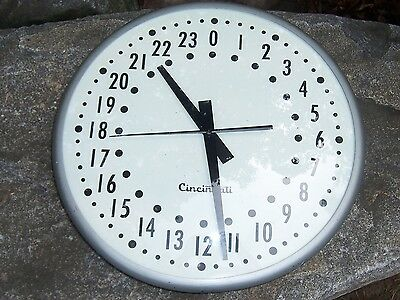 "Vintage Cleveland Clock Rare 24 Hour Wall Clock Runs Quiet Large 20"" Dia."