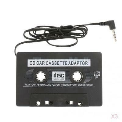 3x Black Car Cassette Casette Tape 3.5mm AUX Audio Adapter MP3 MP4 Player
