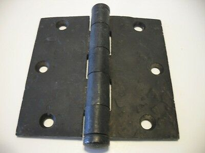 "1 Vintage Satin BLACK Hammered Steel Look Entry Door Butt Hinge 3-1/2"" X 3-1/2"