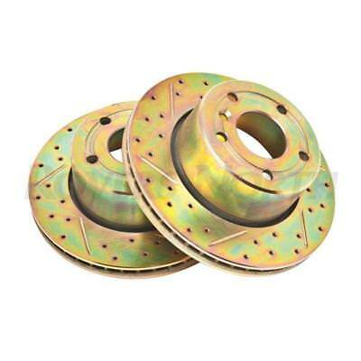 Front Disc Brake Rotors Vented Cross Drilled Grooved Land Rover Discovery 2 SDB0