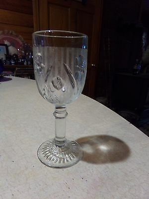 Jeannette Glass Iris & Herringbone Crystal 4 Oz Goblet
