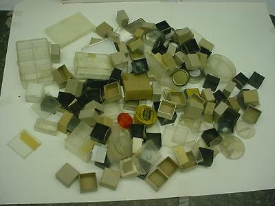 Assortment of Vintage Jeweler's Movement Tins, Parts Boxes & Ring Displays D403