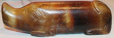 Chinese Hand Carved Elongated Stone Pig