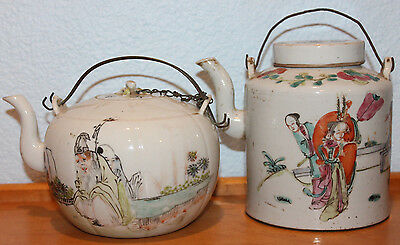 Old Pair of 19th c Antique Chinese Painted Porcelain Teapots with Certificate