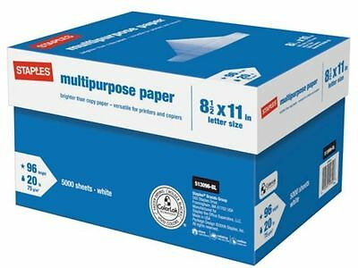 *NEW* Staples Multipurpose Copy Printing Paper 10-Ream Case 5000 Sheets SEALED