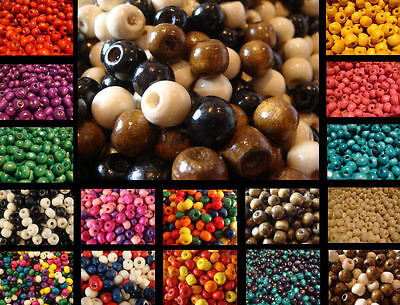 1000 Wooden Round Wood Beads 4Mm Wide 3Mm High 1.5Mm Hole Many Colours