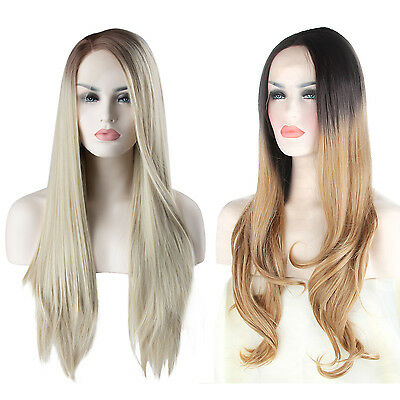Women Ombre Brown Blonde Synthetic Lace Front Wigs Long Wavy Straight Hair+Cap
