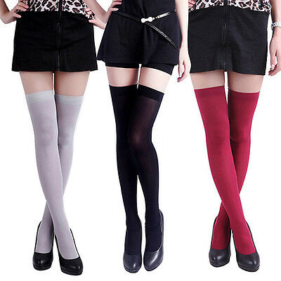 Women Pure Colour Opaque Sexy Thigh High Stockings Over The Knee Socks Seraphic