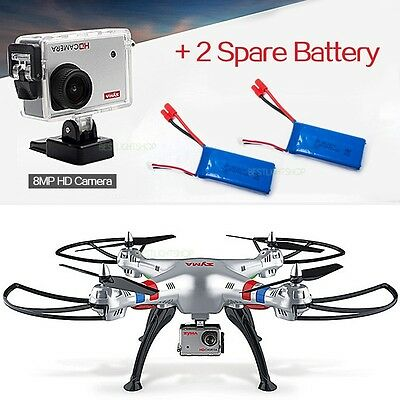 SYMA X8G 8MP HD Camera RC Quadcopter Drone Helicopter 4CH with 2 Spare Battery