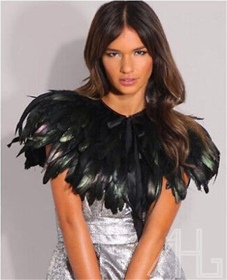 Black Feather Sewing Trimming Collar Peacock Shawls Fringe Elegant Halloween New