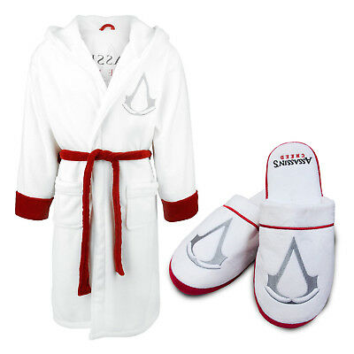 1343e83dc0 Groovy Adults Assassins Creed White Bathrobe Dressing Gown OR Mule Slippers