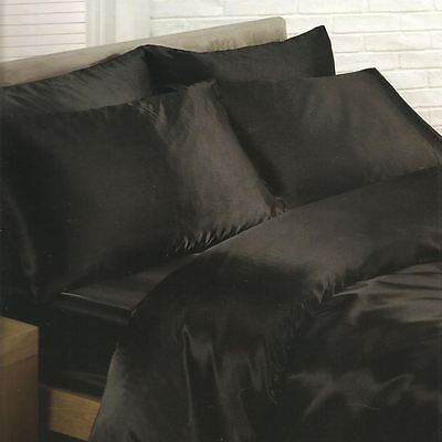 Black Satin Double Duvet Cover Set + Fitted Sheet + 4 Pillowcases Bedding New