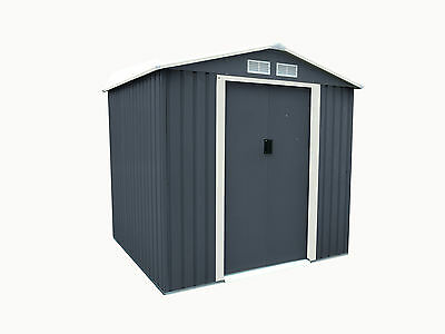 Charles Bentley 6ft x 6ft Dark Grey Metal Apex Garden Steel Shed Outdoor Storage