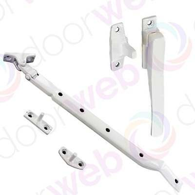 WHITE CASEMENT WINDOW FASTENER STAY Handle Lever Arm Latch Catch Lock Timber