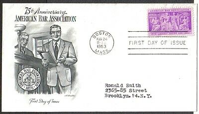 1953 Us Fdc American Bar Association 3C Stamp Artmaster First Day Cover Boston