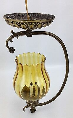 TWO (2) Underwriters Laboratories Light Fixtures w/ Amber Glass Globes C-145665