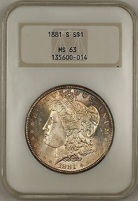 1881-S Morgan Silver Dollar $1 Coin NGC MS-63 Toned Old Holder (Tb)