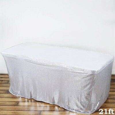 21 ft Silver SEQUIN TABLE SKIRT Wedding Party Catering Trade Show Banquet