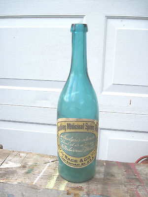 1890s Boothbay Harbor ME Mineral Spring Water Bottle Medicine & ad 2pcs Rare!